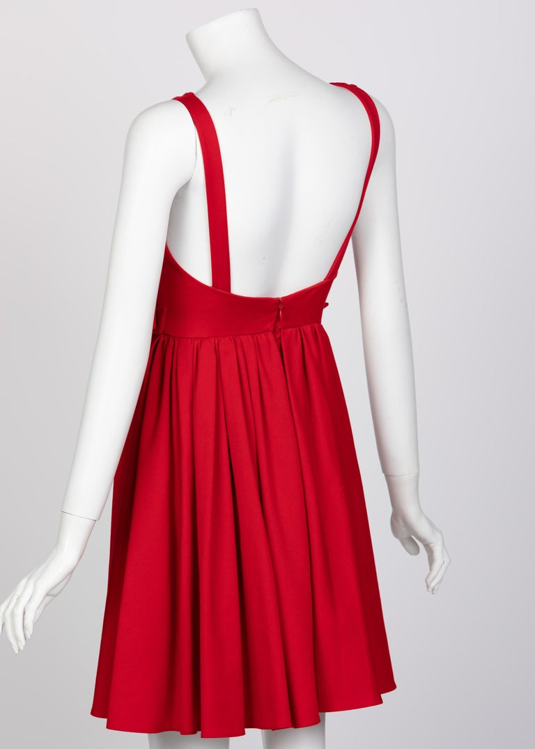 Valentino Techno Couture Sleeveless Red Bow Open Back Dress In Excellent Condition For Sale In Boca Raton, FL