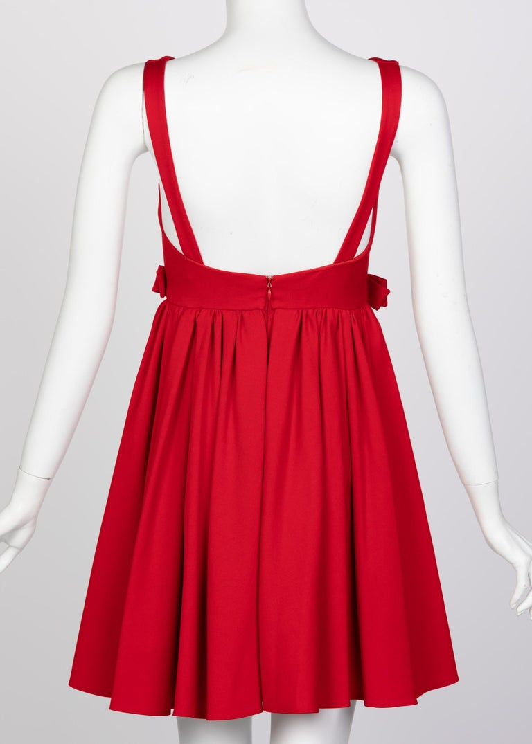 Women's or Men's Valentino Techno Couture Sleeveless Red Bow Open Back Dress For Sale