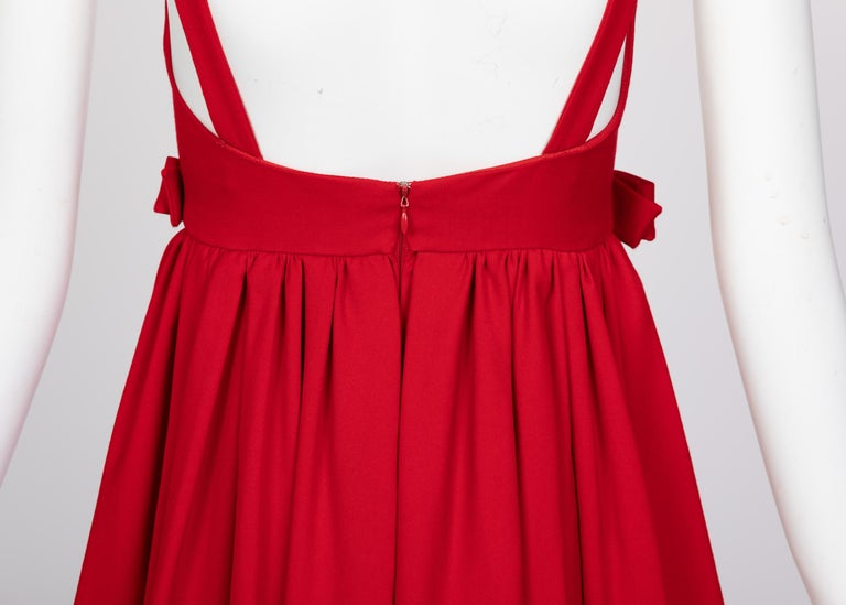 Valentino Techno Couture Sleeveless Red Bow Open Back Dress For Sale 3