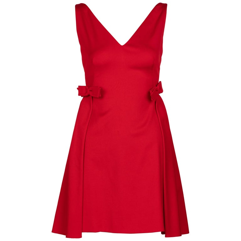 Valentino Techno Couture Sleeveless Red Bow Open Back Dress For Sale