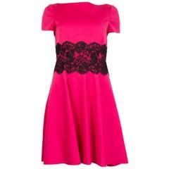 VALENTINO TECHNOCOUTURE fuchsia wool LACE PANEL Short Sleeve Dress 42