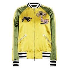 Valentino Teddy Appliquéd Silk-Satin Bomber Jacket