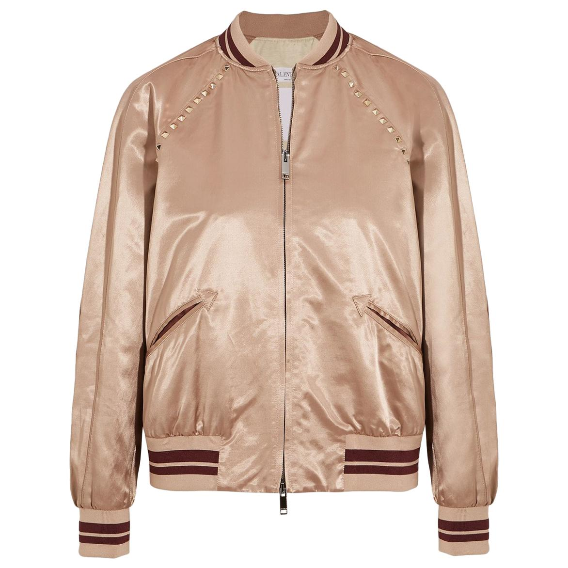 Valentino The Rockstud Embellished Satin Bomber Jacket