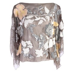 Valentino Top in Taupe Fine Silk With Metallic & Iridescent Sequins Size 6