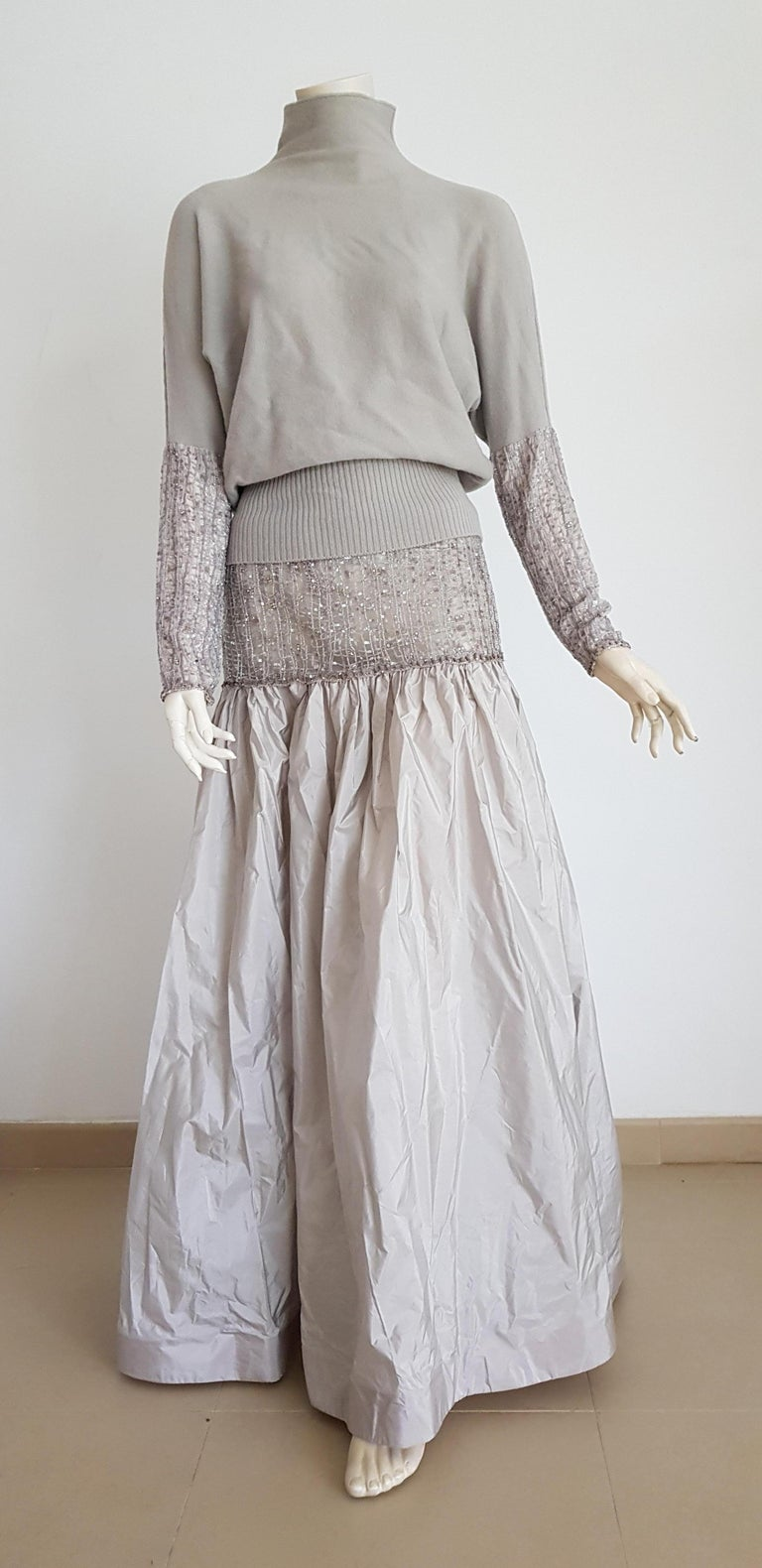 VALENTINO swarovsky diamonds set, top-sweater and skirt with embroidery beads, in cashmere and silk, elegant grey dress - Unworn, New with tags  SIZE: equivalent to about Small / Medium, please review approx measurements as follows in cm.  TOP: