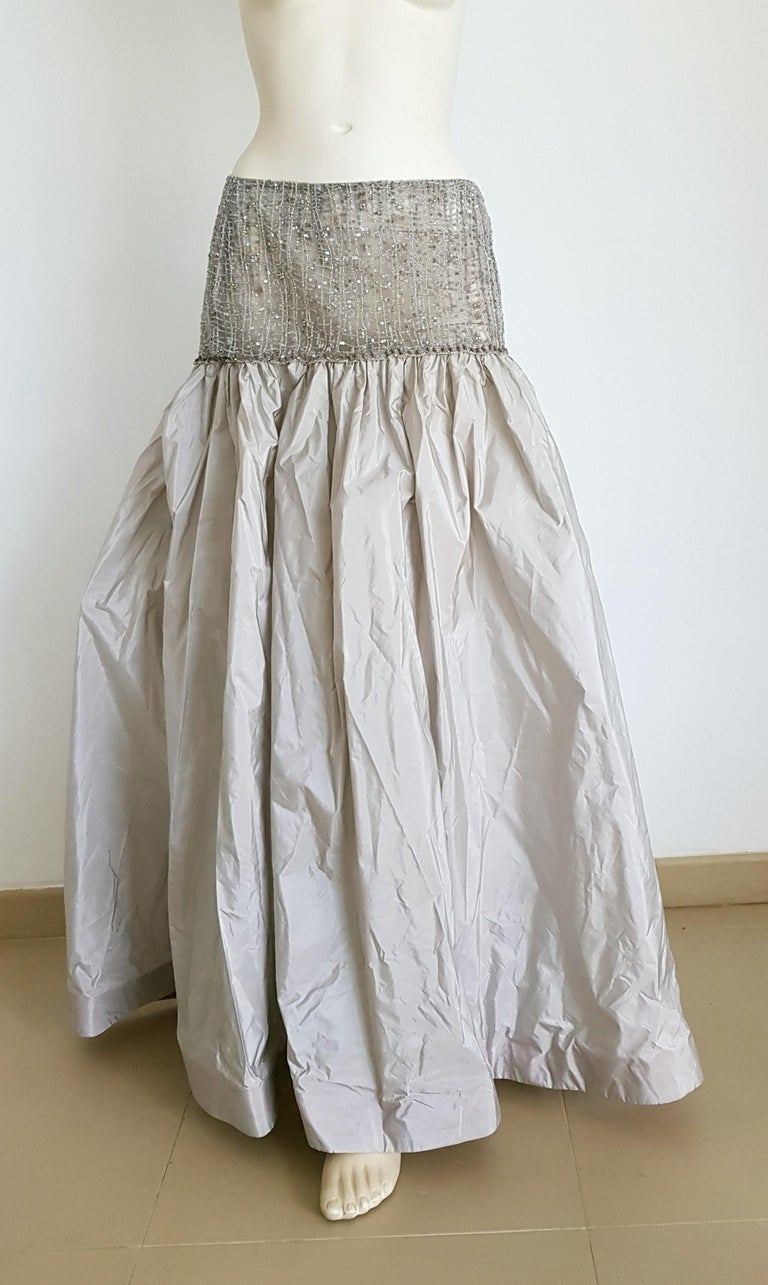 Women's VALENTINO Top Sweater Skirt Swarovsky Embroidery Beads Cashmere Silk Dress - New For Sale