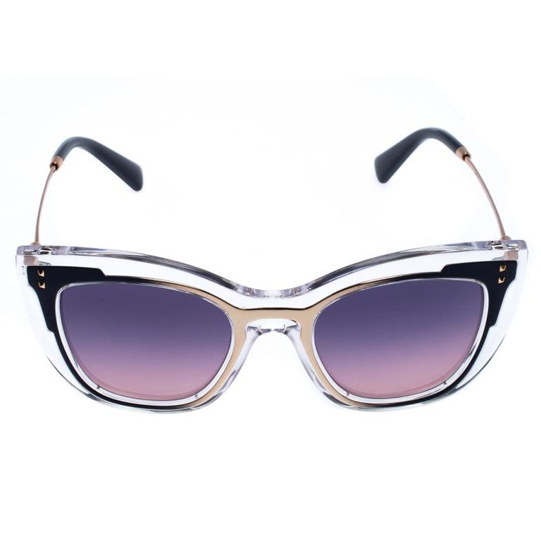 Valentino Transparent/Purple Gradient VA4031 Sunglasses In New Condition For Sale In Dubai, Al Qouz 2