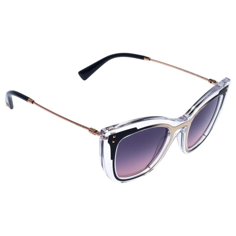 Valentino Transparent/Purple Gradient VA4031 Sunglasses For Sale