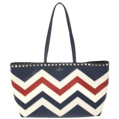 Valentino Tri Color Chevron Leather and Canvas Small Rockstud Motif Shopper Tote