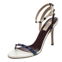 Valentino Tricolor Leather Rockstud Ankle Strap Sandals Size 38.5