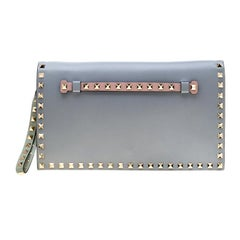 Valentino Tricolor Leather Rockstud Wristlet Clutch