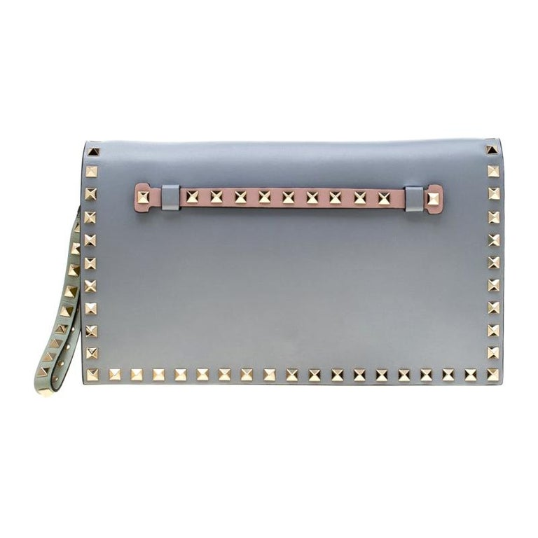 Valentino Tricolor Leather Rockstud Wristlet Clutch For Sale