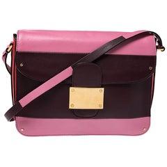 Valentino Tricolor Stripe Leather Flap Shoulder Bag