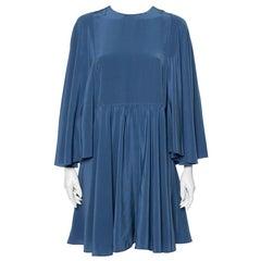 Valentino Turkish Blue Silk Cape Sleeve Detail Mini Dress L