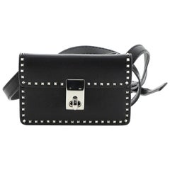 Valentino Turnlock Flap Shoulder Bag Leather with Micro Rockstuds Micro