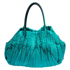 Valentino Turquoise Leather Crystal Embellished Tote