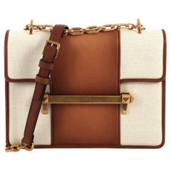 Valentino Uptown Shoulder Bag Leather and Canvas Medium