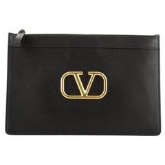 Valentino  V-Ring Clutch Leather