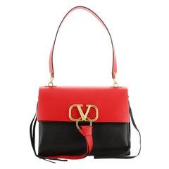 Valentino V-Ring Shoulder Bag Leather Medium