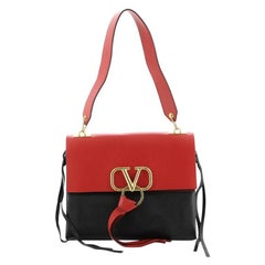 Valentino V-Ring Shoulder Bag Leather Medium