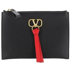 Valentino V-Ring Zip Pouch Leather Small