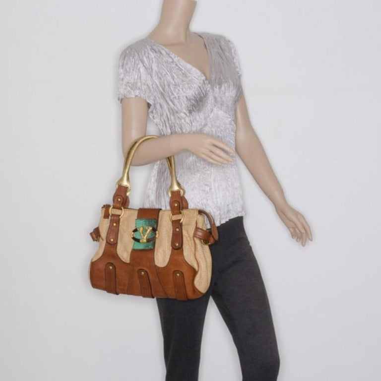 Brown Valentino V Woven Leather Satchel For Sale