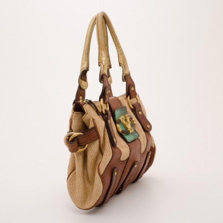 Valentino V Woven Leather Satchel In Good Condition For Sale In Dubai, AE