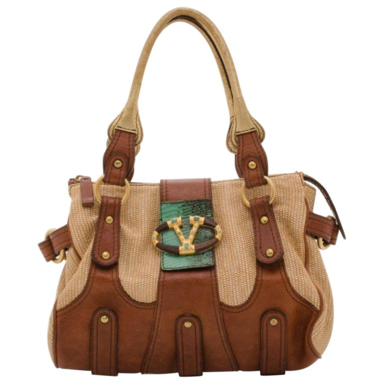 Valentino V Woven Leather Satchel For Sale