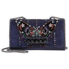 Valentino Va Va Voom Beaded Butterfly Suede Shoulder Bag