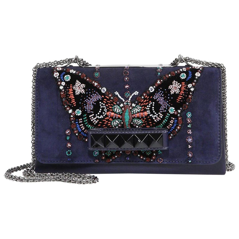 13e84022243 Valentino Va Va Voom Beaded Butterfly Suede Shoulder Bag at 1stdibs