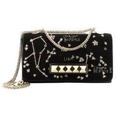 Valentino Va Va Voom Clutch Crystal Embellished Suede Medium