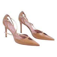 Valentino Valentino Garavani Vintage Tan Leather Salome Pumps Heels 38