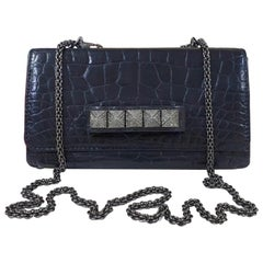 Valentino Vavavoom Black Alligator Limited Edition Clutch Bag