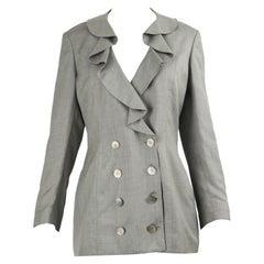 Valentino Vintage 1980s Women's Grey Ruffled Silk Lined Blazer Jacket