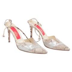 Valentino Vintage Beige Snakeskin Leather Pumps Heels 37.5