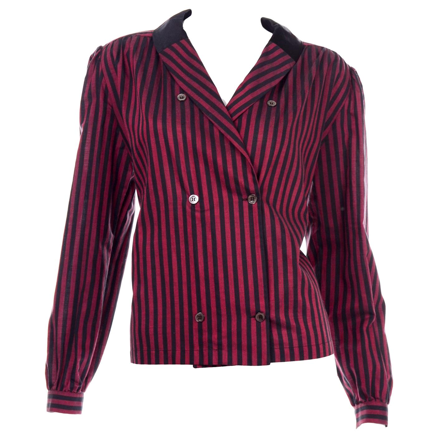 Valentino Vintage Black and Red Striped Cotton & Silk Button Front Blouse