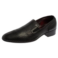 Valentino Vintage Black Perforated Leather Slip On Loafers Size 42