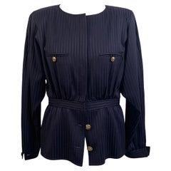 Valentino Vintage Blue Striped Collarless Peplum Hem Jacket Size 10