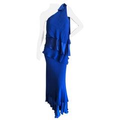 Valentino Vintage Cascading Tiered Blue Silk One Shoulder Evening Dress