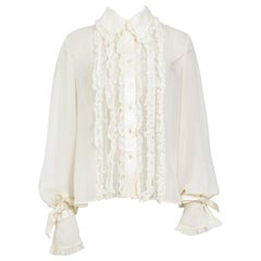 Valentino vintage cream 100% silk and lace ruffle blouse