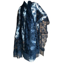 Valentino Vintage Fringed Black Lace Evening Shawl