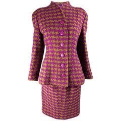 Valentino Vintage Fuchsia & Green Wool Skirt Suit