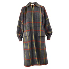 Valentino Vintage Grey Checked Wool Oversized Gathered Back Coat, 1980s