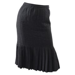 Valentino Vintage Grey Wool Pleated Skirt
