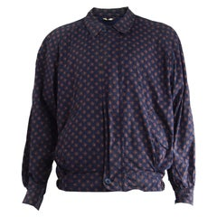 Valentino Vintage Men's Navy Blue & Red Cotton Printed Blouson Jacket, 1980s