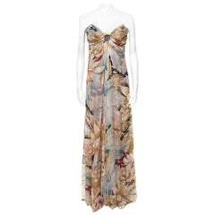 Valentino Vintage Multicolor Floral and Hexagon Print Layered Silk Chiffon Gown