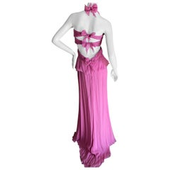 Valentino Vintage Pink Silk Evening Dress with Bow Tie Back