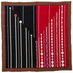 Valentino Vintage Silk Jewel Scarf