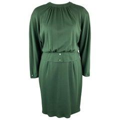 VALENTINO Vintage Size 10 Green Jersey Long Sleeve Shift Dress