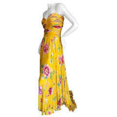 Valentino Vintage Yellow Silk Floral Evening Gown with Train